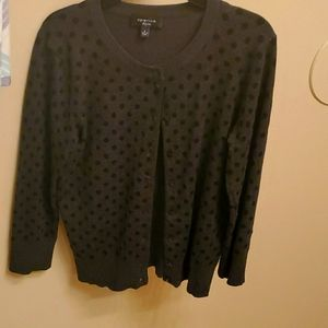 Spense brand black polka dot long sleeve cardigan